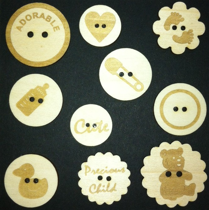 Baby Wood Button Embellishments