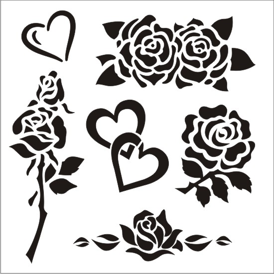 Hearts & Roses Stencil