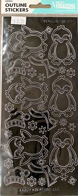 Penguins Outline Stickers