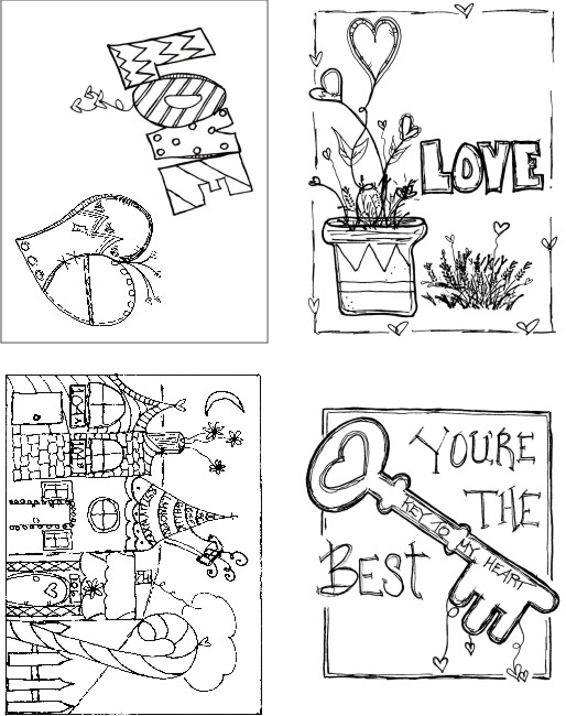Love Set of 4 Art Cards