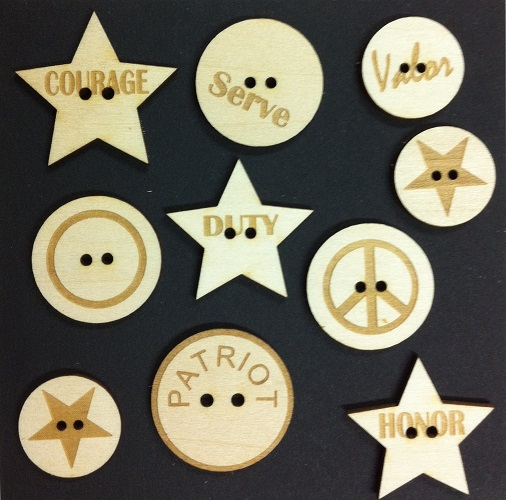 Military Wood Buttons