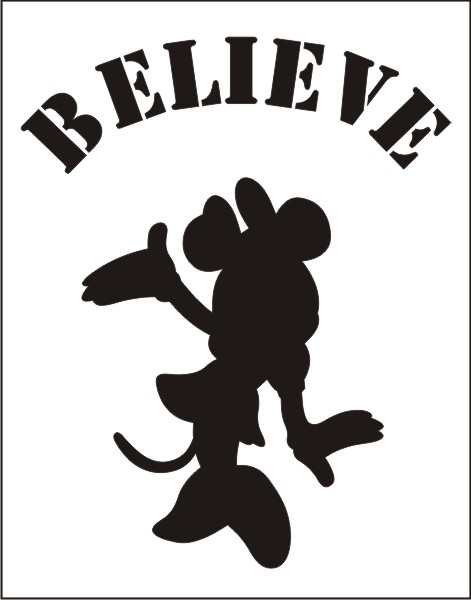 Believe Minnie Small Stencil