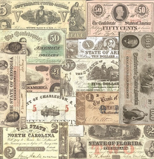 Confederate Currency paper
