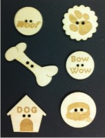 Dog Wood Buttons